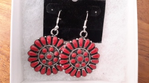 Traditional Navajo needlepoint earrings with corals.